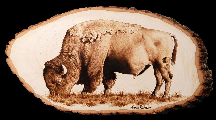 Buffalo Pyrography - Massive by Minisa Robinson