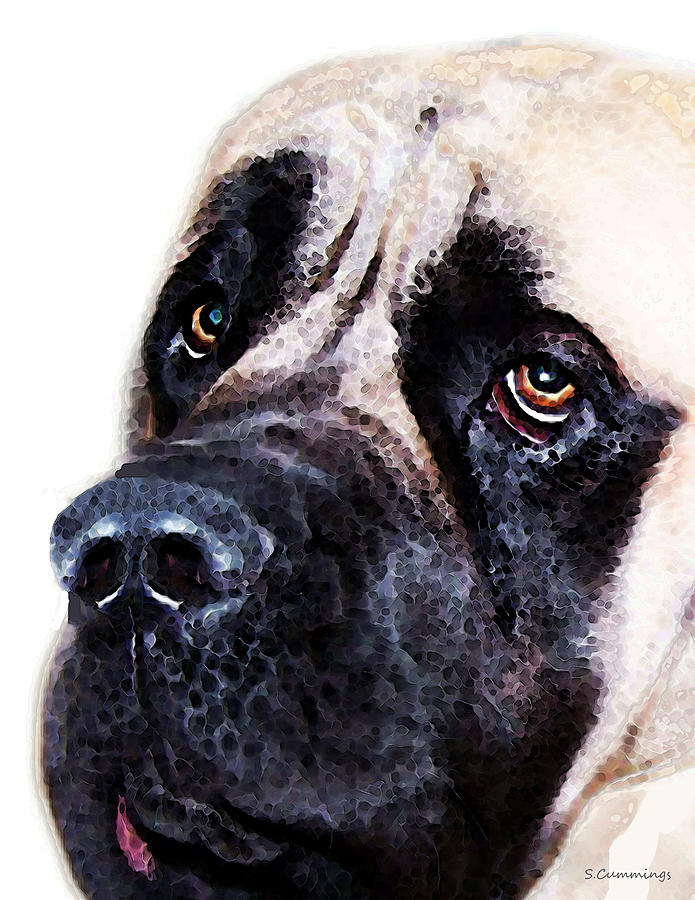 Mastiff Dog Art - Sad Eyes Painting