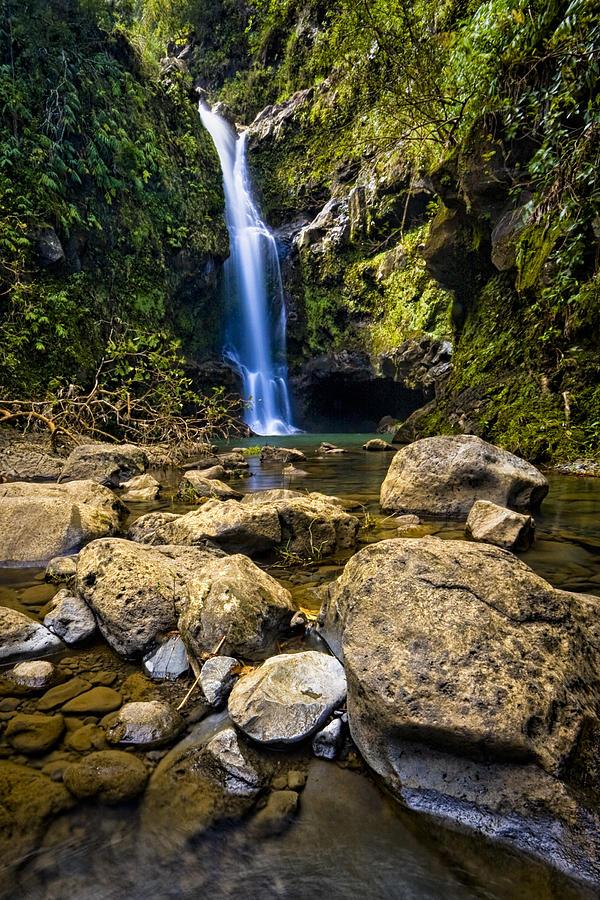 3scape Photos Photograph - Maui Waterfall by Adam Romanowicz