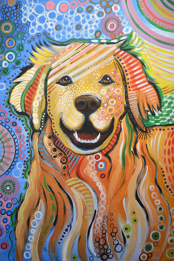 max abstract dog art golden retriever painting by