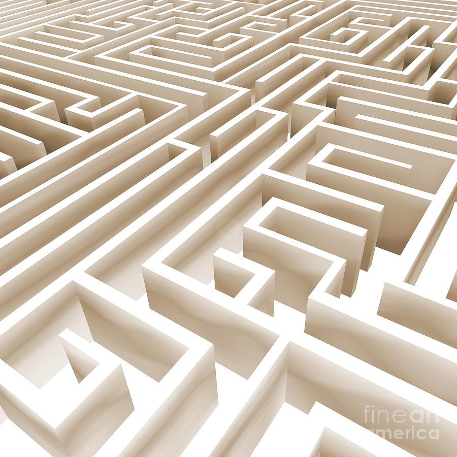High Key Digital Art - Maze by Stefano Senise