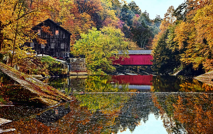 Landscape Photograph - Mcconnells Mill And Covered Bridge by Marcia Colelli