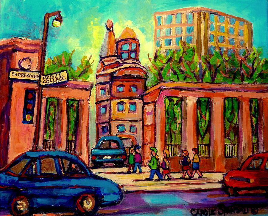 Mcgill University Painting - Mcgill University Roddick Gates Montreal by Carole Spandau