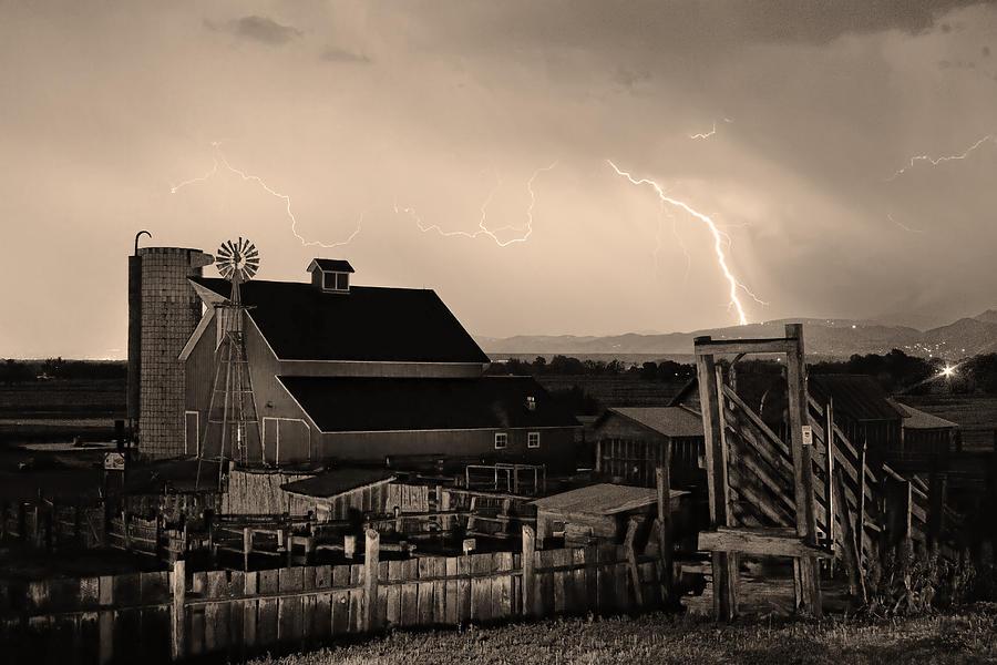 Mcintosh Farm Lightning Sepia Thunderstorm Photograph