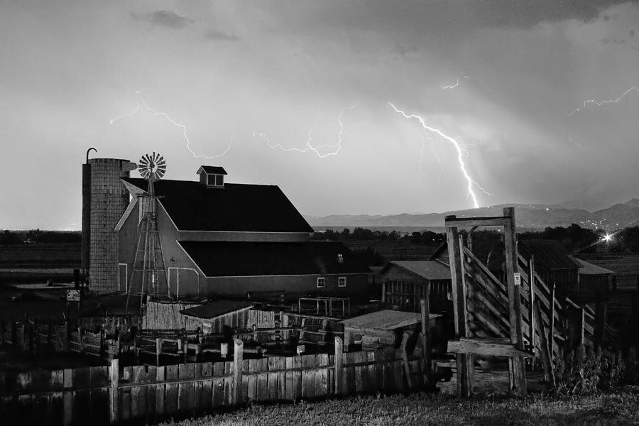 Mcintosh Farm Lightning Thunderstorm Black And White Photograph