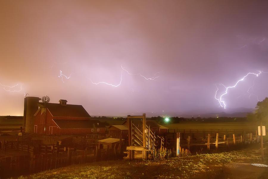 Mcintosh Farm Lightning Thunderstorm View Photograph