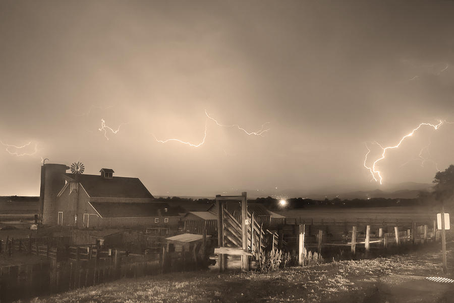 Mcintosh Farm Lightning Thunderstorm View Sepia Photograph  - Mcintosh Farm Lightning Thunderstorm View Sepia Fine Art Print