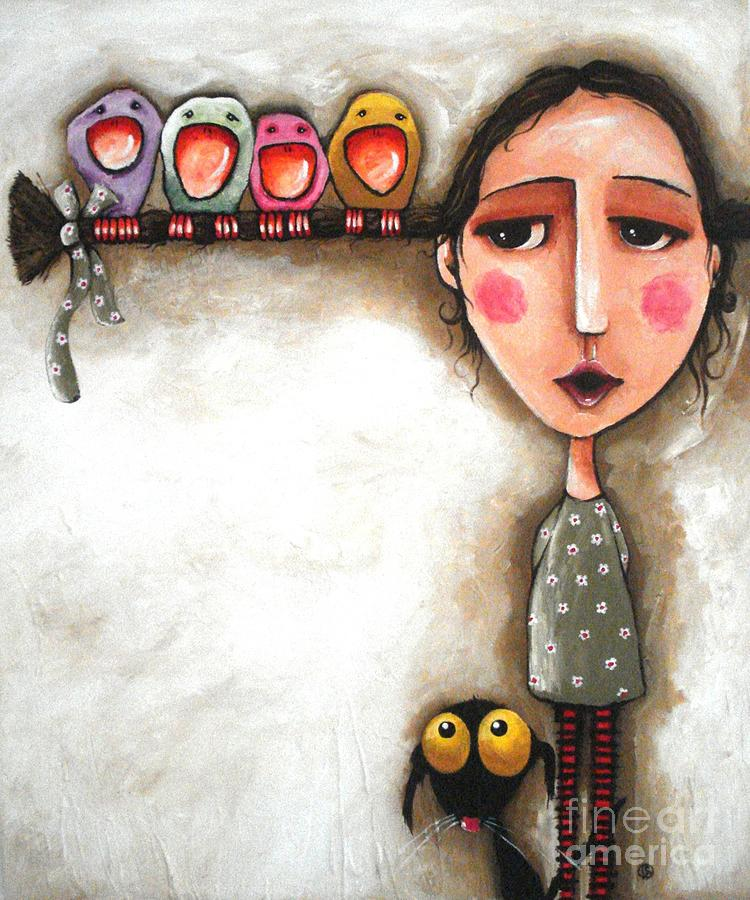 Me And My Birds Painting By Lucia Stewart