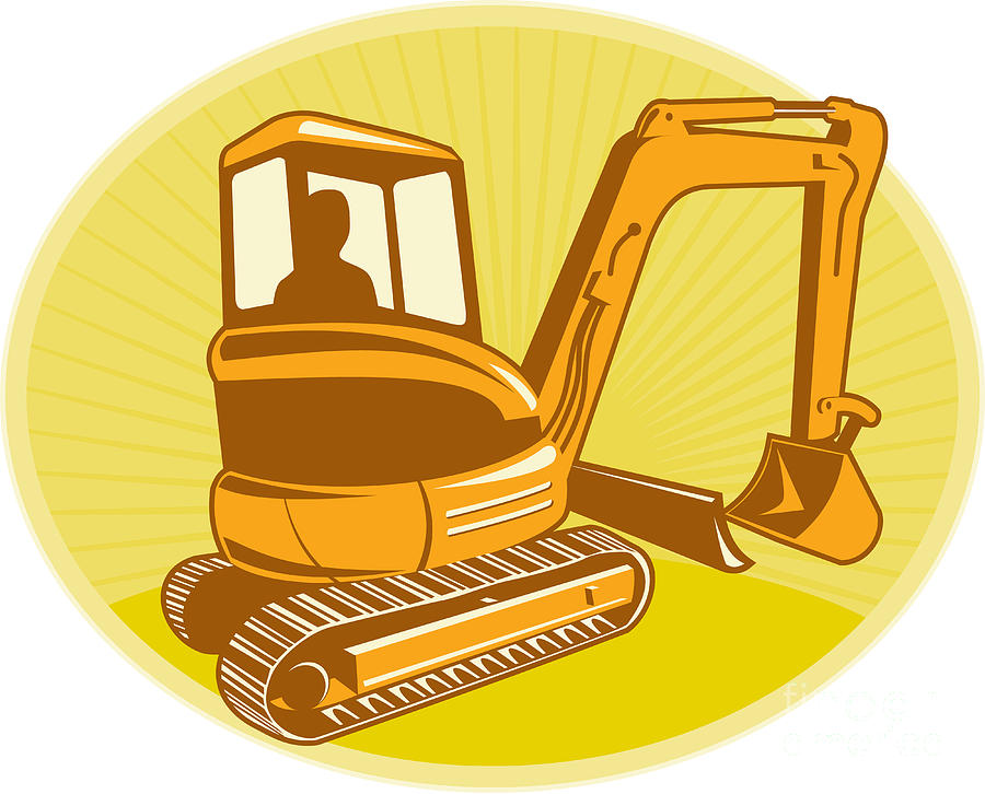 Mechanical Digger Excavator Retro Digital Art
