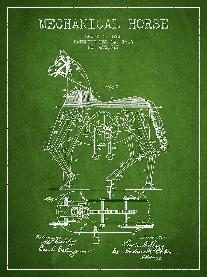 Horse Drawing - Mechanical Horse Patent Drawing From 1893 - Green by Aged Pixel