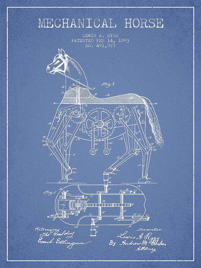 Mechanical Horse Patent Drawing From 1893 - Light Blue Drawing