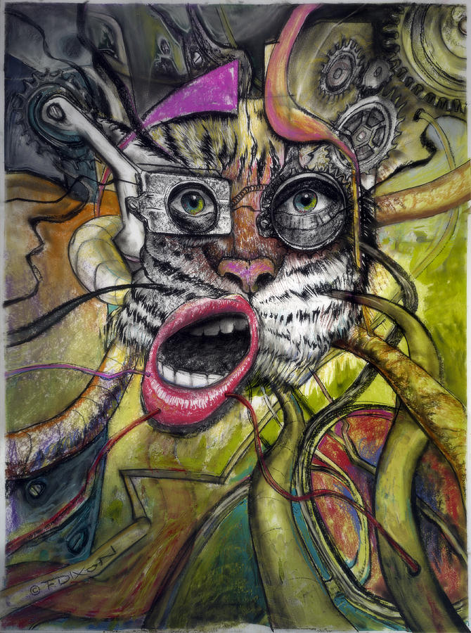 Mechanical Tiger Girl Painting  - Mechanical Tiger Girl Fine Art Print