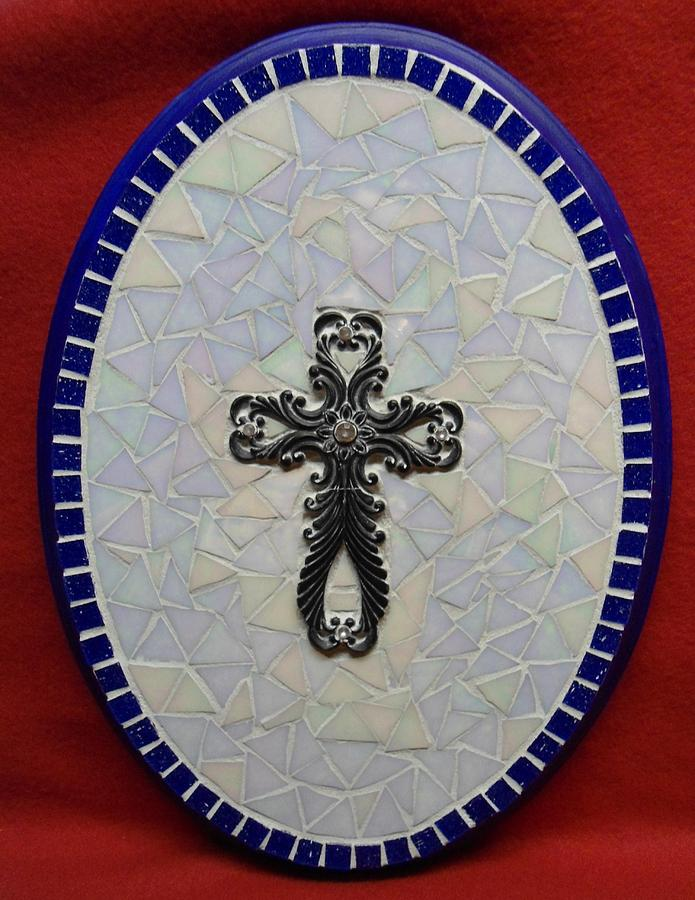 Medallion Glass Art - Medallion With Cross by Fabiola Rodriguez