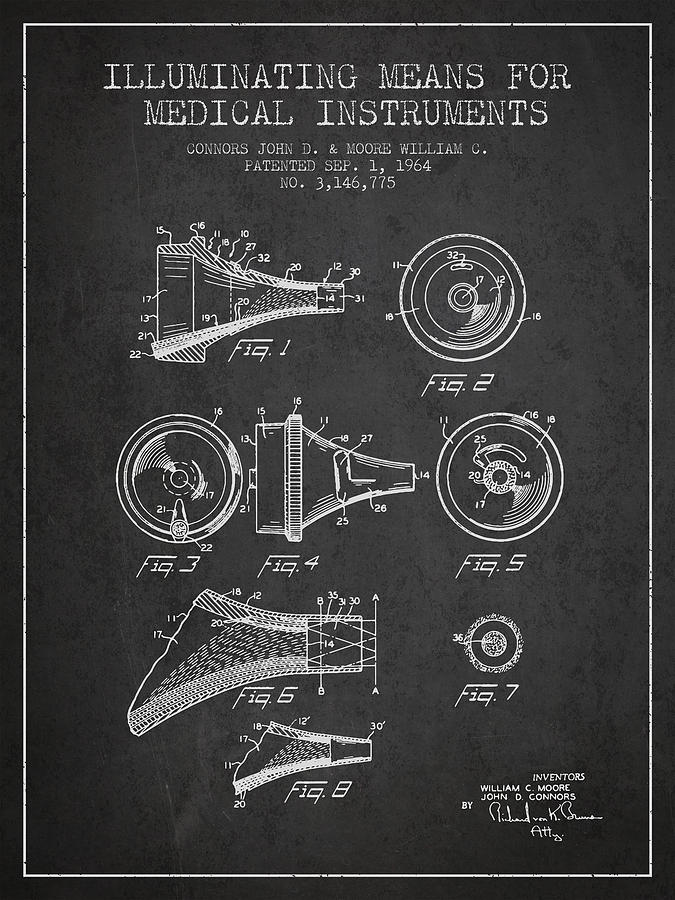Medical Device Drawing - Medical Instrument Patent From 1964 - Dark by Aged Pixel