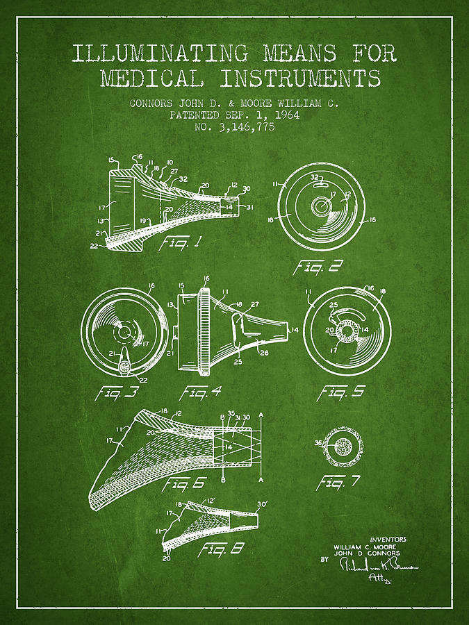 Medical Instrument Patent From 1964 - Green Drawing