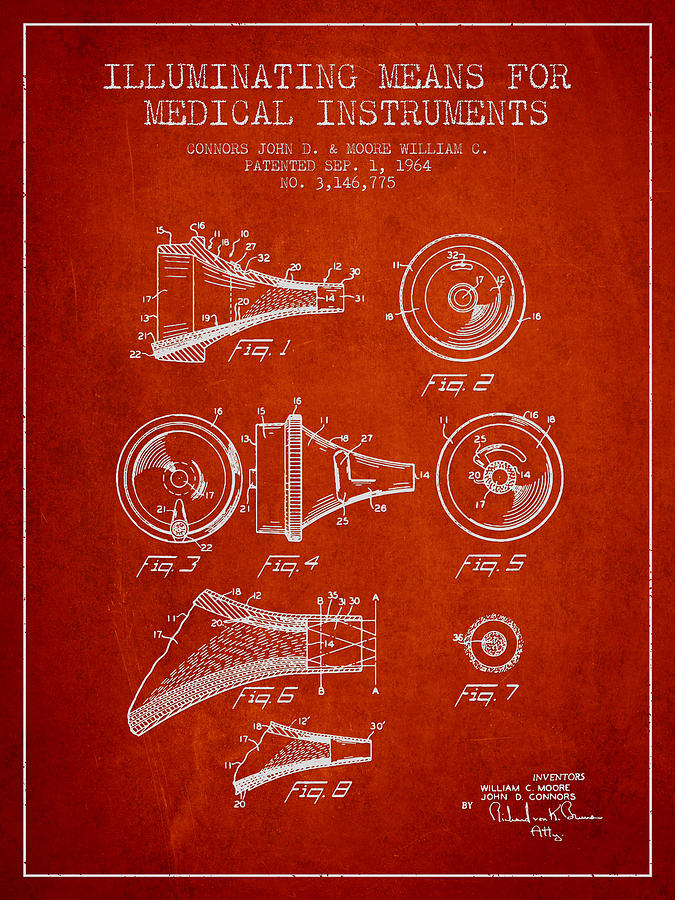 Medical Device Drawing - Medical Instrument Patent From 1964 - Red by Aged Pixel