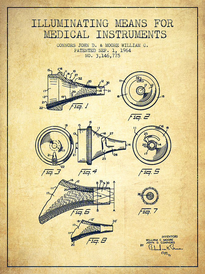 Medical Instrument Patent From 1964 - Vintage Drawing