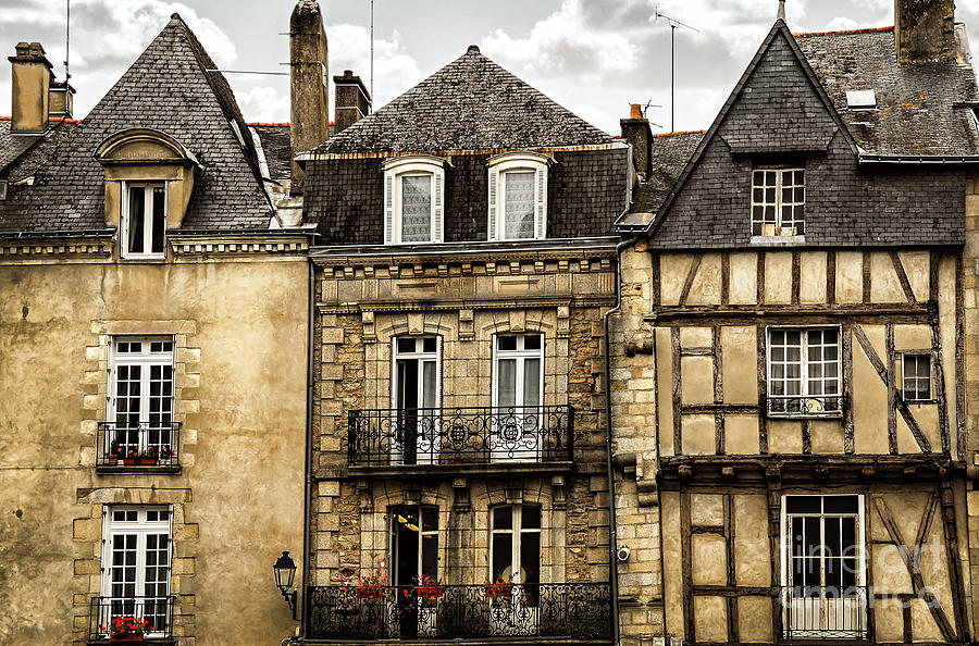Medieval Houses In Vannes Photograph  - Medieval Houses In Vannes Fine Art Print