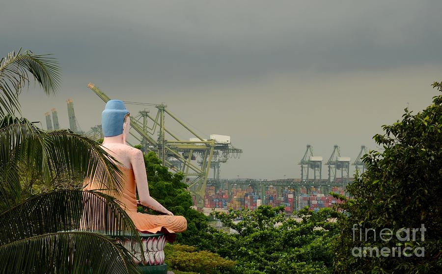Meditating Buddha Views Container Seaport  Photograph