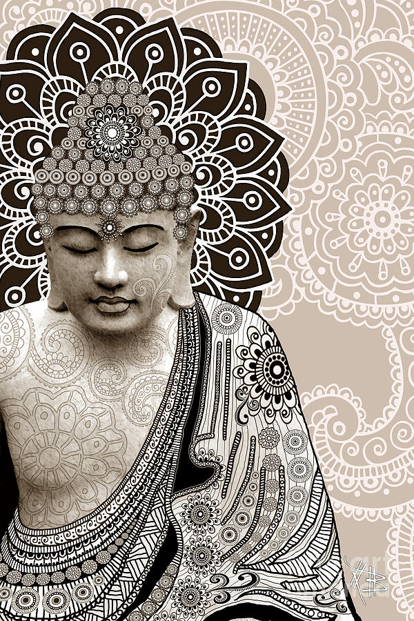 Meditation Mehndi - Paisley Buddha Artwork - Copyrighted Digital Art  - Meditation Mehndi - Paisley Buddha Artwork - Copyrighted Fine Art Print