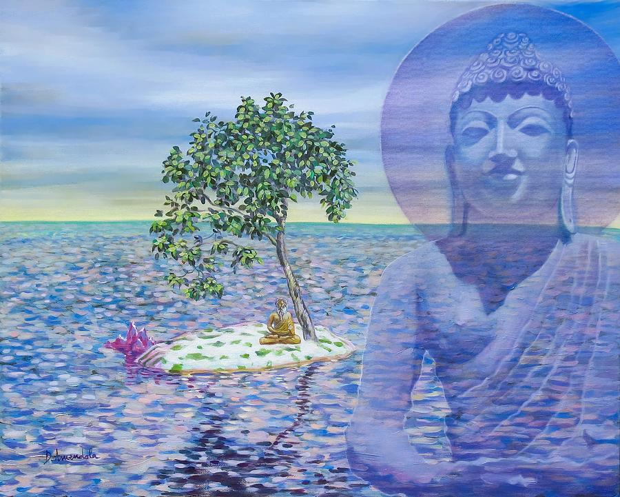 Meditation On Buddha Blue Painting  - Meditation On Buddha Blue Fine Art Print