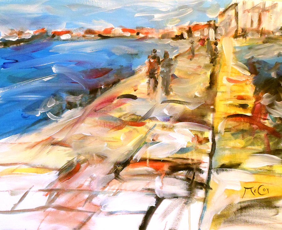 Mediterranean Promenade Painting  - Mediterranean Promenade Fine Art Print