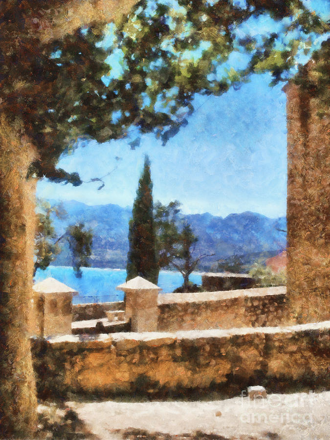 Mediterranean Sea View Painting  - Mediterranean Sea View Fine Art Print