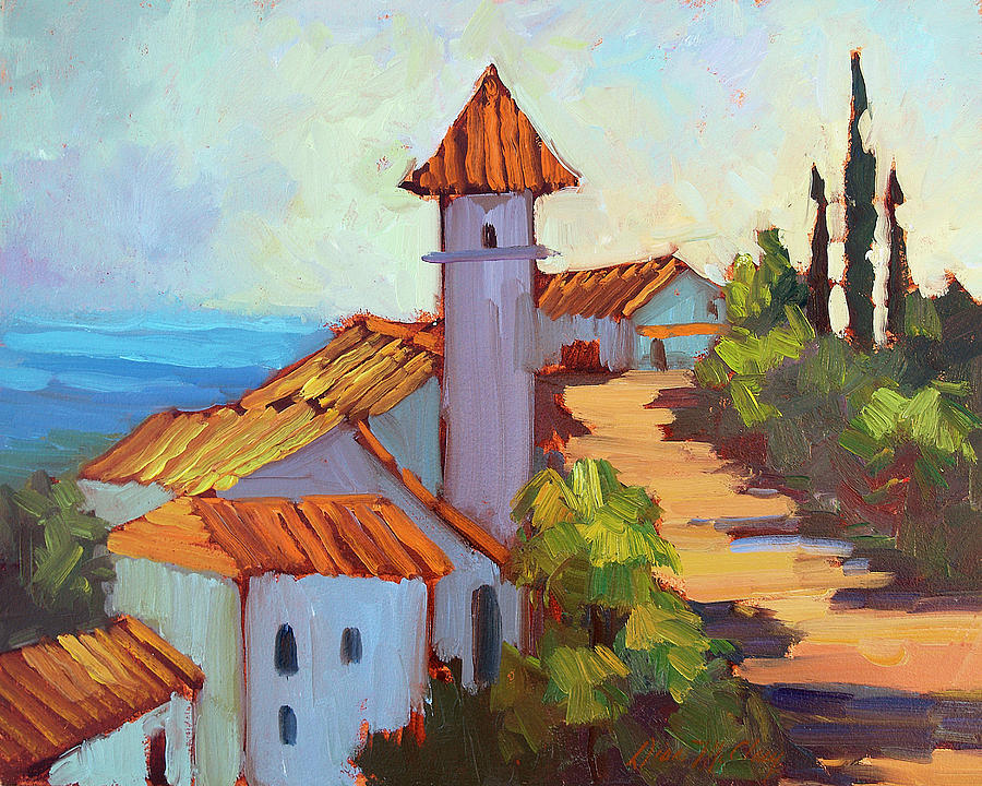 Mediterranean Village Costa Del Sol Painting By Diane Mcclary