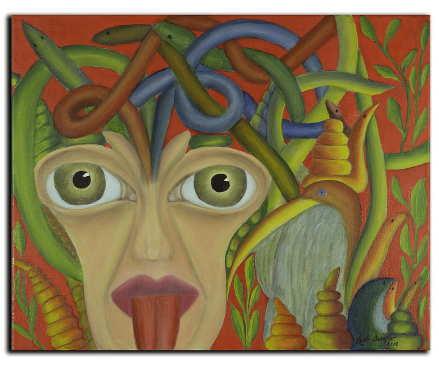 Medusa In Red Painting  - Medusa In Red Fine Art Print