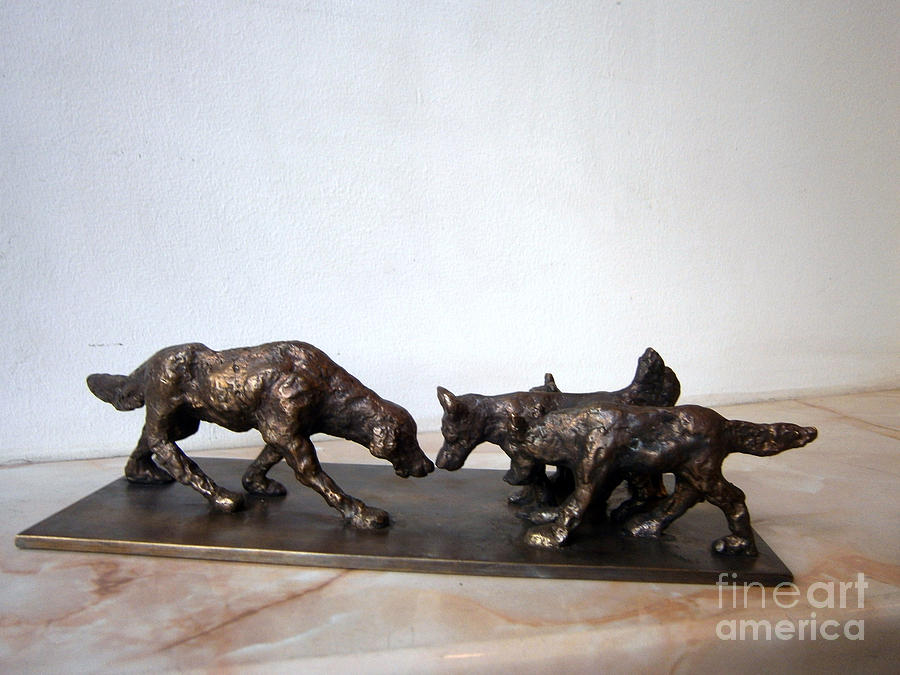 Meeting Of The Dogs Sculpture  - Meeting Of The Dogs Fine Art Print