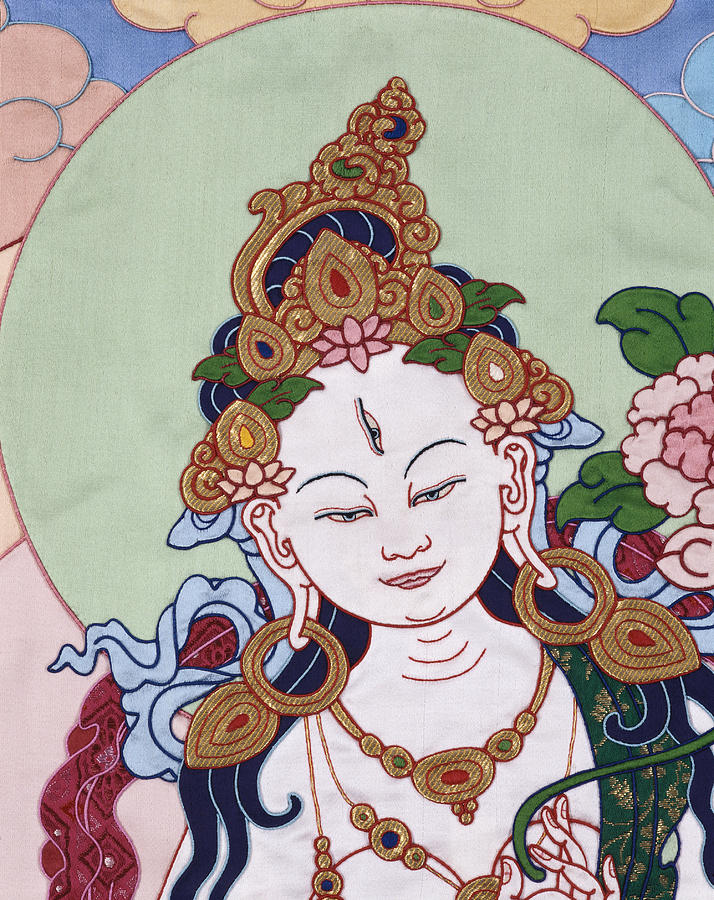 Meeting White Tara Tapestry - Textile  - Meeting White Tara Fine Art Print