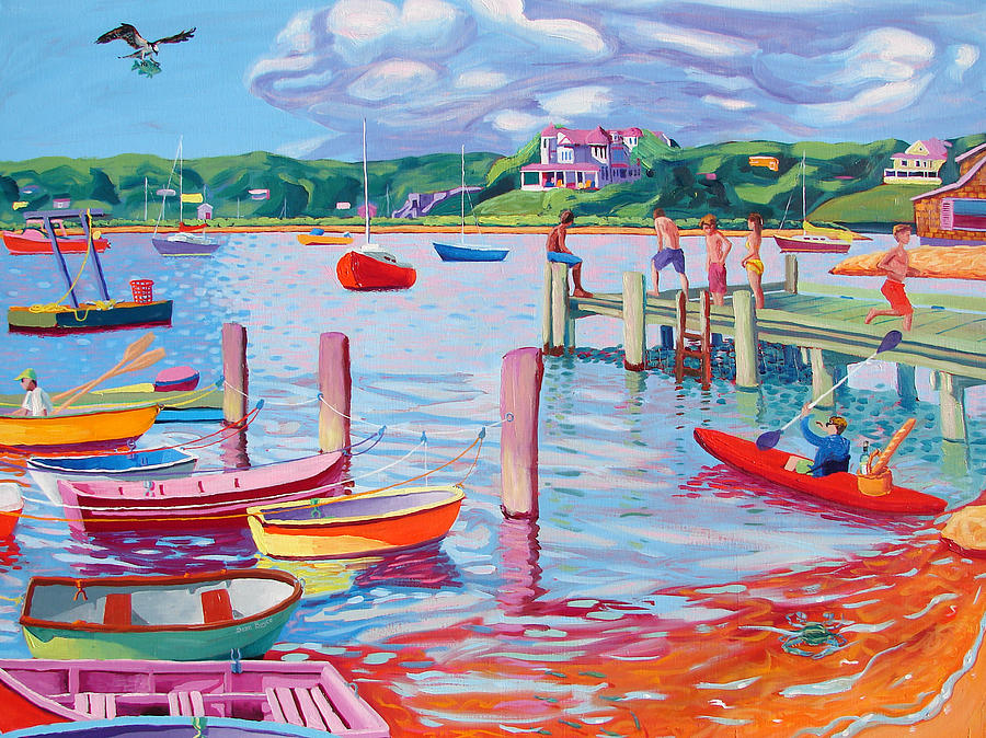Megansett Dock With Osprey Painting  - Megansett Dock With Osprey Fine Art Print