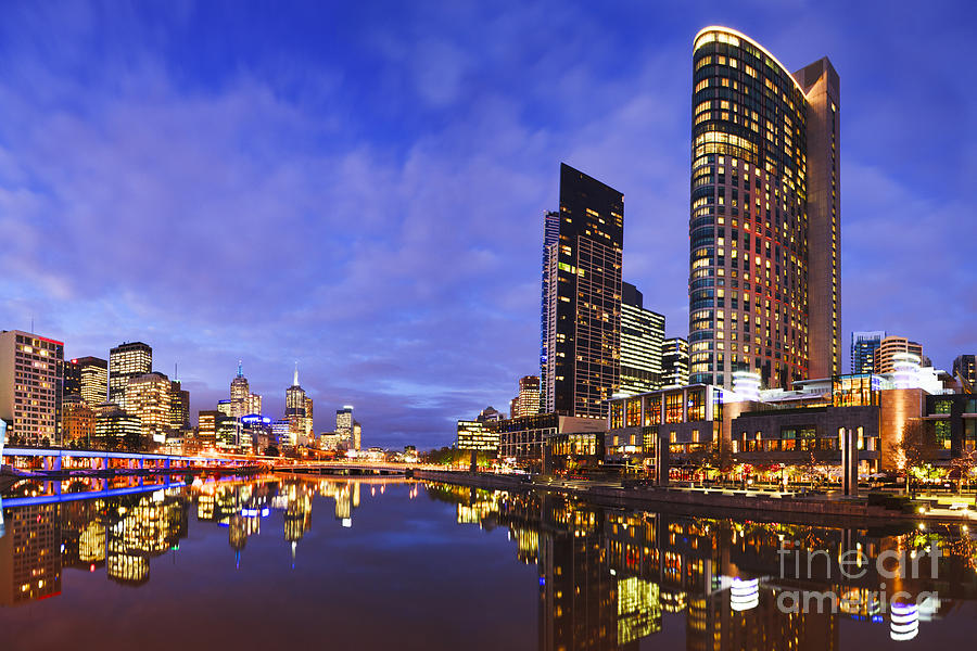 Melbourbe Skyline And Yarra River At Twilight Square Photograph
