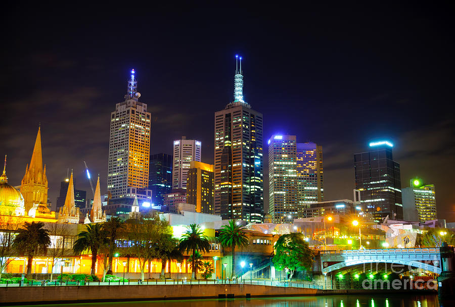Melbourne Photograph - Melbourne City Skyline - Skyscapers And Lights by David Hill