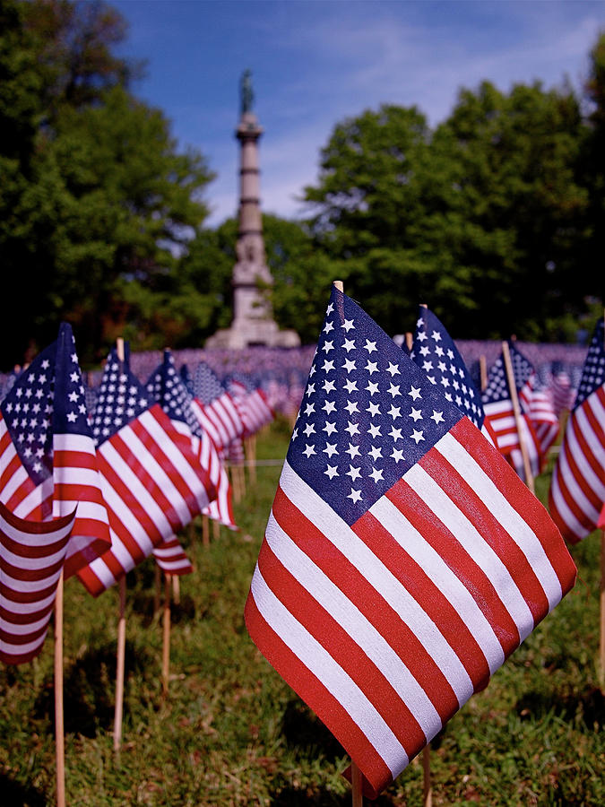 Memorial Day Flag Garden Photograph  - Memorial Day Flag Garden Fine Art Print