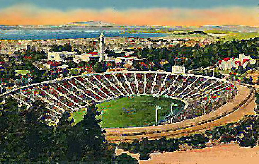 Memorial Football Stadium In U C Berkeley Around 1940 Painting  - Memorial Football Stadium In U C Berkeley Around 1940 Fine Art Print