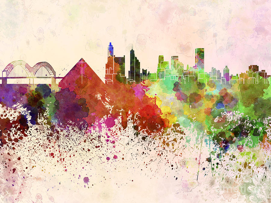 Memphis Skyline In Watercolor Background Digital Art