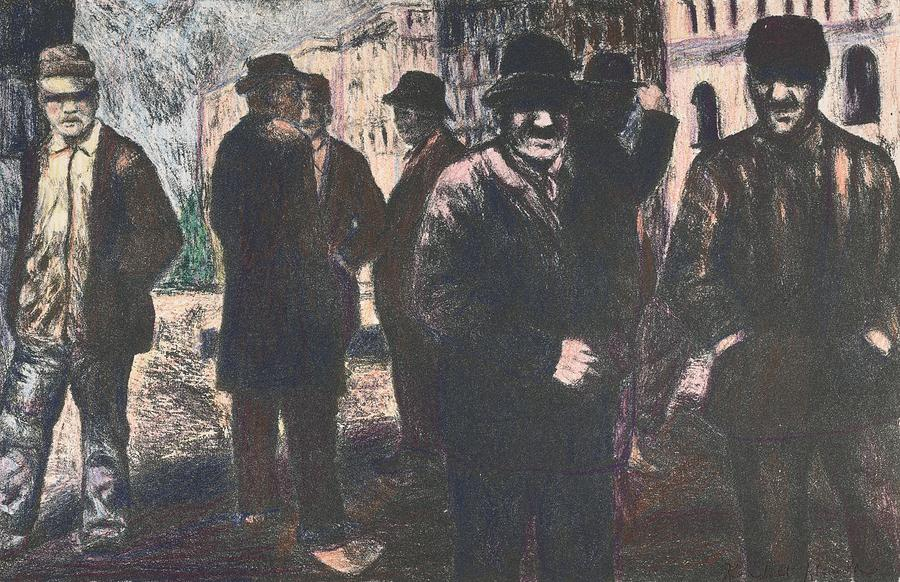 Men In Yellow Light Drawing