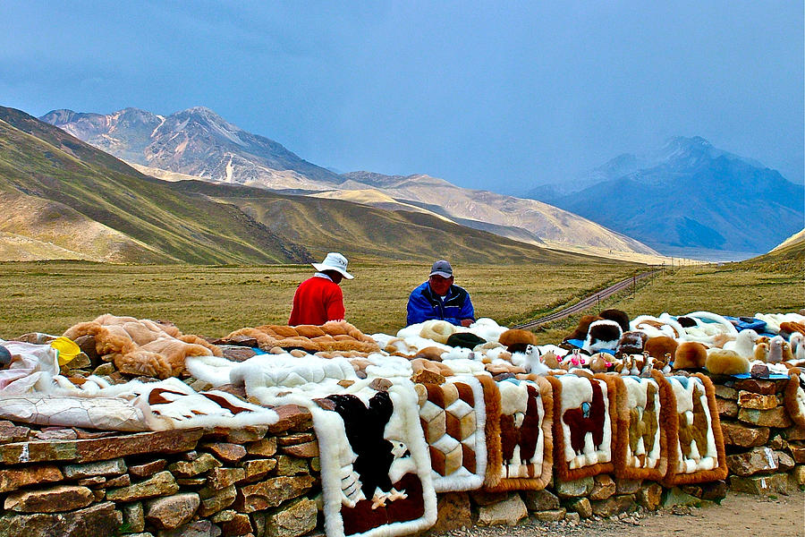 Men Selling Alpaca And Llama Rugs At Highest Point On Road