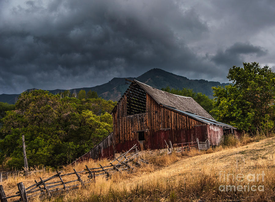 Mendon Utah Barn In Storm Photograph