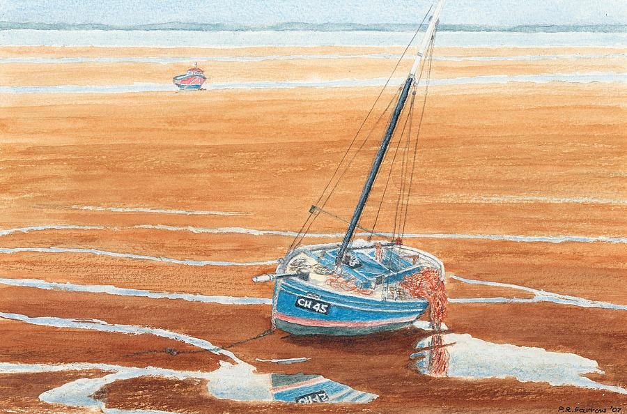 Meols Beach At Low Tide - Wirral Painting