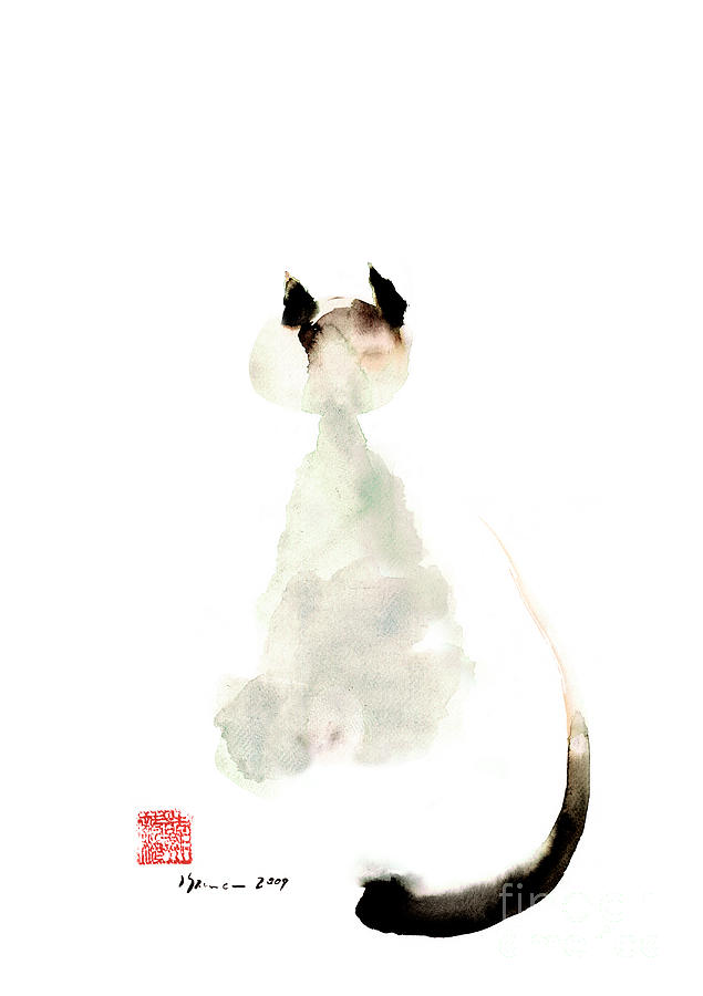 Curious Cute Kitten Little Cat Watercolor Painting Funny Cats