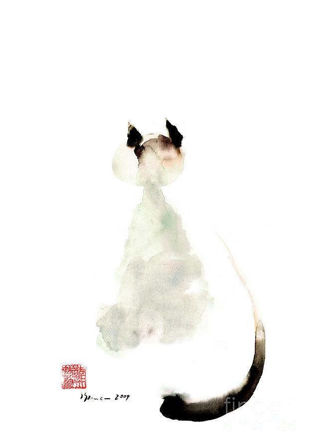 Meow curious cute kitten little cat watercolor painting for Cute watercolor paintings