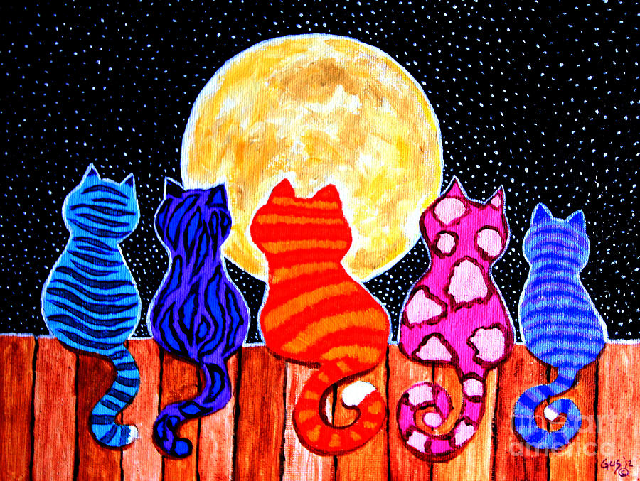 Cats Painting - Meowing At Midnight by Nick Gustafson