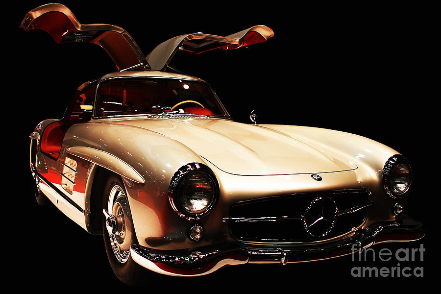 Mercedes 300sl Gullwing . Front Angle Black Bg Photograph