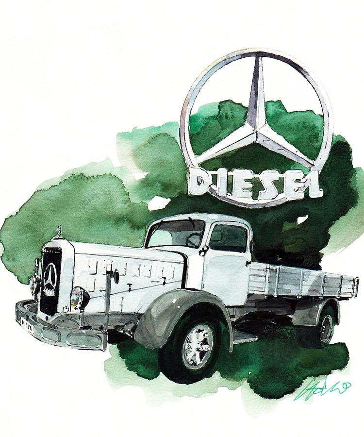Mercedes benz l 6500 truck painting by yoshiharu miyakawa for Mercedes benz 6500