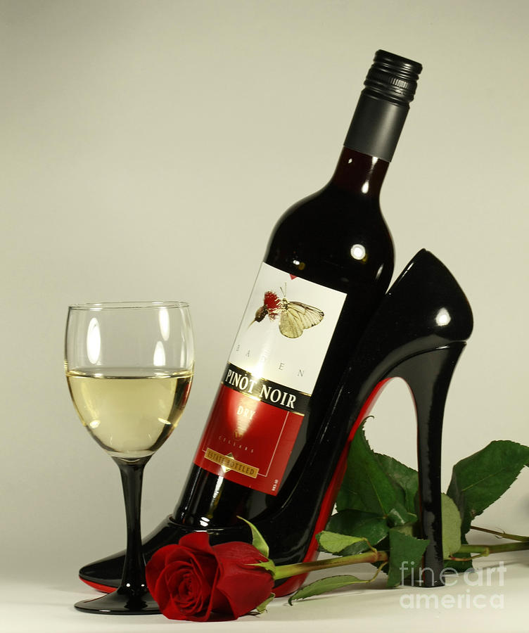 Merlot Wine And Red Rose Photograph  - Merlot Wine And Red Rose Fine Art Print