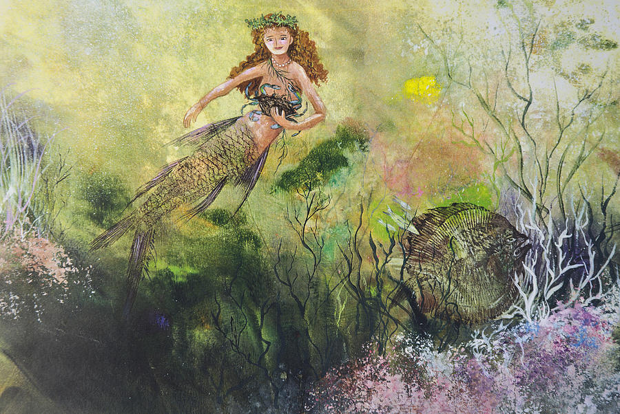 Mermaid Mixed Media - Mermaid And Friends by Nancy Gorr