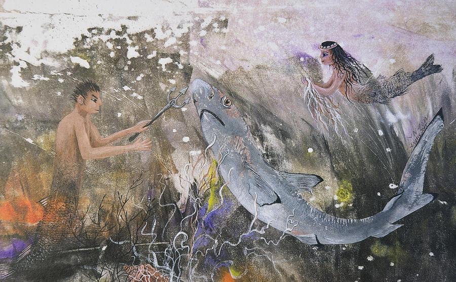 Mermaid Mixed Media - Mermaid And Neptune by Nancy Gorr
