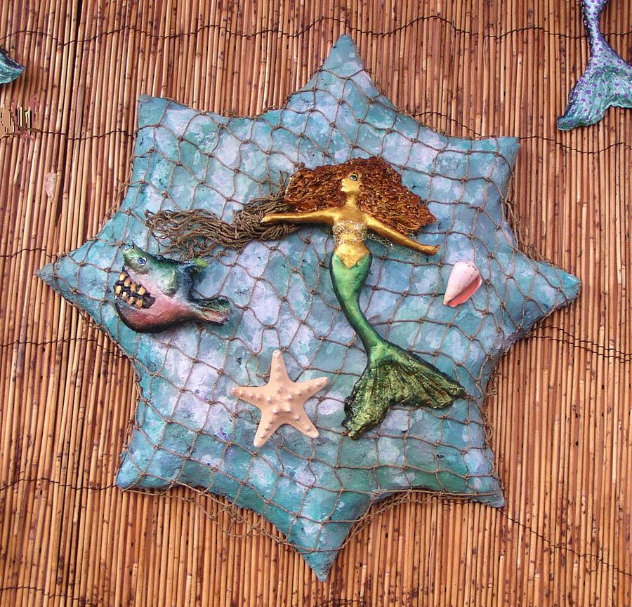 Mermaid Sculpture - Mermaid Catch by Dan Townsend